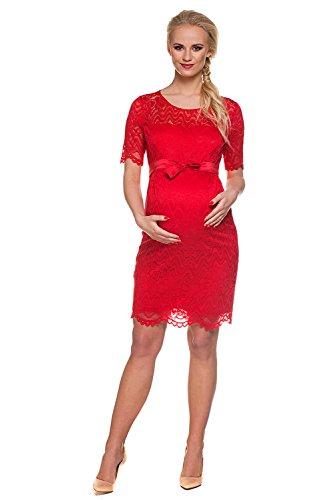 My Tummy Mutterschafts Kleid Umstands Kleid Carmen rot Spitze - 3