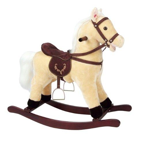 LEOMARK Holz Schaukelpferd Schaukeltier Plüsch Schaukel Babyschaukel Pferd Baby Schaukelspielzeug Sound Beige