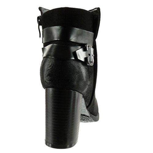 Angkorly - damen Schuhe Stiefeletten - vintage-stil - Schleife - String Tanga Blockabsatz high heel 8 CM Schwarz