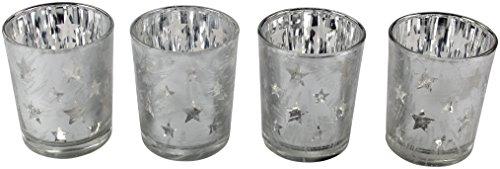 Decoline Teelicht-Halter 4 Stück aus Glas Silber