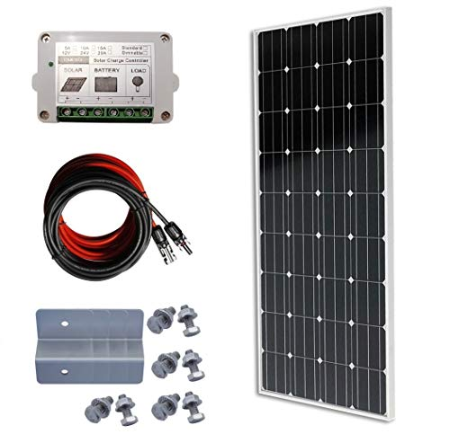 ECO-WORTHY 100W Solaranlage Solar Set 12V Mono Solarmodul Bausatz W/ 15A Regler Laderegler Flat-panel-conversion-kit