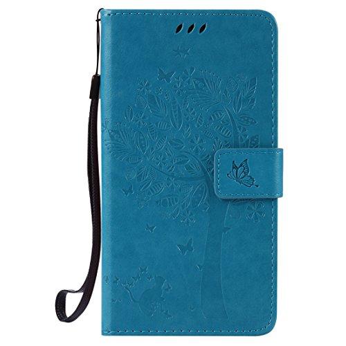 HTC Desire 830 Hülle, Chreey Prägung [Katze Baum] Muster PU Leder Hülle Flip Case Wallet Cover mit Kartenschlitz Handyhülle Etui Schutztasche [Blau]