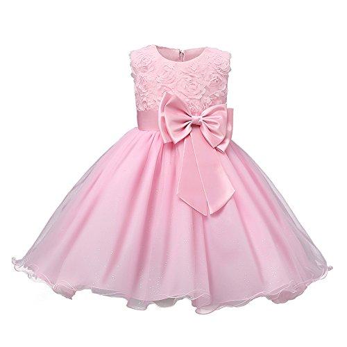 Kinder Mädchen Kleidung Formal Teenager Kootk Abendkleid Hochzeit Kleid Rosa 90 CM (Ausgefallene Baby-mädchen-kleidung)
