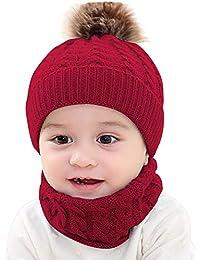 5e5874b9c Sombrero de punto BBsmile 2 Unids Bebé del niño Chicas Chicos Invierno  cálido Gorro de punto Beanie + Bufanda…