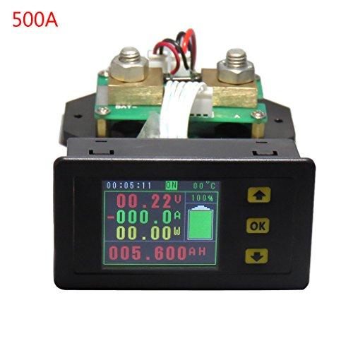 Xurgm Kabellos LCD Digitalanzeige Voltmeter Amperemeter DC 120V 100A/200A/300A/500A Strom Spannung Monitor-Power Energy-Multimeter mit integriertem Shunt (500A) Amperemeter Shunt