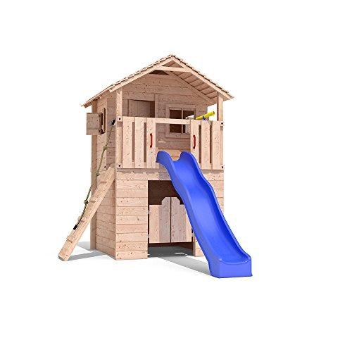 Spielturm BARIZIO Baumhaus Stelzenhaus Schaukel Rutsche Spielhaus 1,50m Podest (ohne Schaukelanbau)