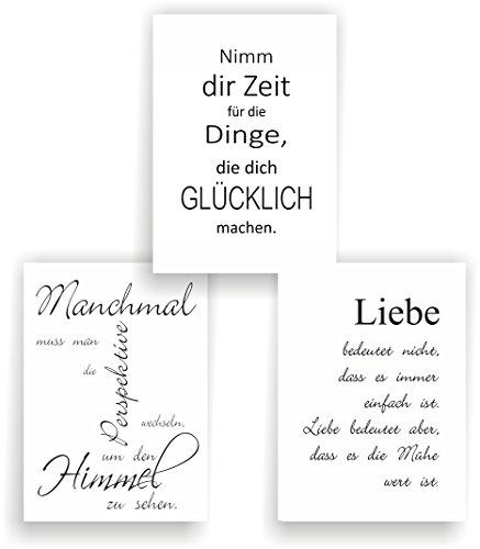 greenluup 3er Set Poster Spruch A4 Sprüche Liebe Glück Motivation schwarz weiß Wandbild (P10) Bilder Sprüche Wandbild modern - Motivations-poster