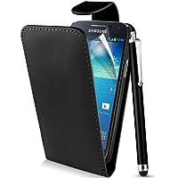Supergets® Hülle für Samsung Galaxy Ace 3 GT-S7270 GT-S7275r - Schlichte Einfarbige Klapptasche in Lederoptik, Etui Schale Flip Case, Mit Schutzfolie und Eingabestift