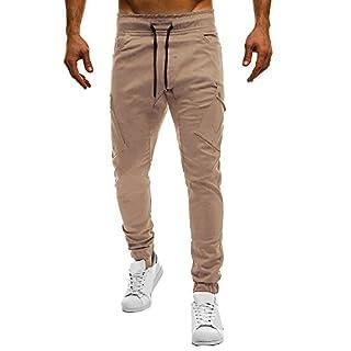 Herren Mode Sport Pure Color Bandage BeiläUfige Lose Sweatpants Drawstring Pant Mens Army Hosen Multi Pocket Kampf Cargo Knopf Jogginghose Kordelzug MäNner Tight Beam Slim Fit Slacks(Grau,XL)