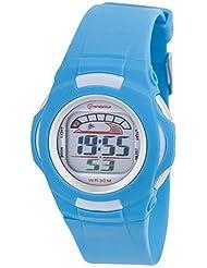 Montre digital Femme / Enfant - bracelet Plastique Turquoise - Cadran Rond Fond Turquoise et Blanc - Marque Mingrui - MR8522