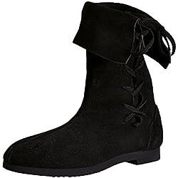 Botas altas con caña vuelta - calzado medieval - con acordonado - ante - piel auténtica - hechas en Alemania - negras - 48
