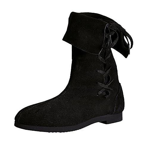 Chaussures Moyen-Âge - Botte à revers avec cordelette - Daim - Made in Germany - Noir - 48