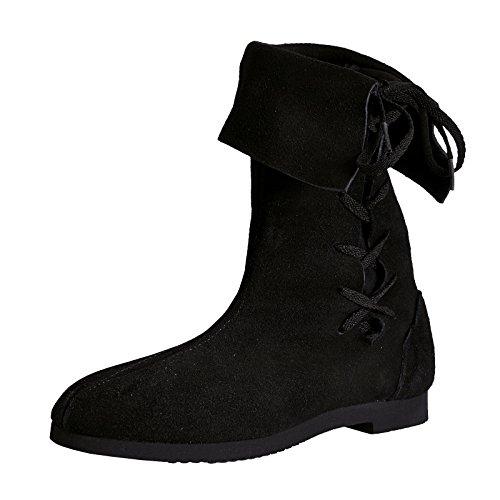 Mittelalter Schuhe seitlich geschnürt 36-41 Echtleder schwarz - 40 (Wildleder Piraten Stiefel)