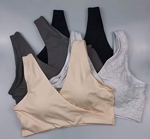 Vellette Damen Still-BH Schwangerschaft Stillen BHS Schlaf Bustier Still BH,für die Nacht,nahtlos,ohne Bügel, 2pcs(black+grey), M/L(=L) - 5