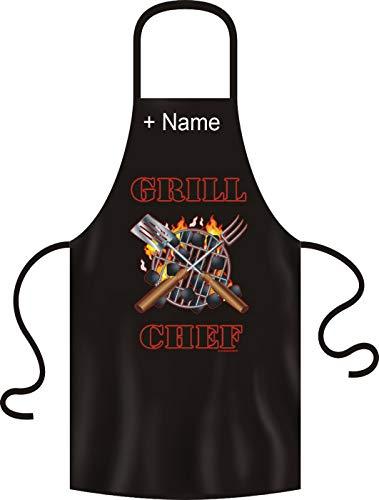 Tini - Shirts Lustige Grillschürze mit ihrem Wunschnamen unisex: Grill Chef! schwarze Kochschürze mit Namen !!