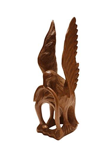 Traditionelle Holzschnitzerei (Boulevarte Handmade Holz Eagle Skulptur | Handgeschnitzte Eagle Action Skulptur | Walnussholz Eagle Statue | Handgeschnitzte Skulptur | Vintage Holzstatue | Vogel Figur | Höhe-38cm Gewicht-800gm)