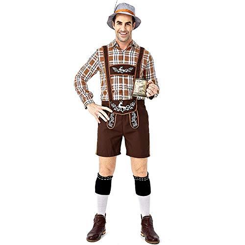 Kind Kostüm Entsprechende - HEROMEN Traditionelles Bierfest Kostüm Rotwild-Druck-großer Gitter-Khaki-Bügel-Karierter Hemd-Hosenträger-Anzug Für Erwachsenen Mann,XL