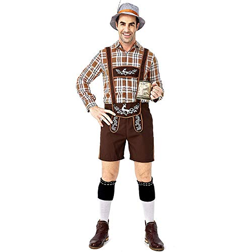 Kostüm Teen Anzug - HEROMEN Traditionelles Bierfest Kostüm Rotwild-Druck-großer Gitter-Khaki-Bügel-Karierter Hemd-Hosenträger-Anzug Für Erwachsenen Mann,L