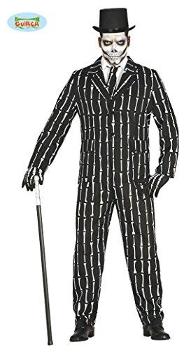 Knochen Anzug Halloween Kostüm für Herren Halloweenkostüm Herrenkostüm Sakko Hose Skelett Suit mit Krawatte Gr. M-L, Größe:L (Wow Halloween Kostüme)