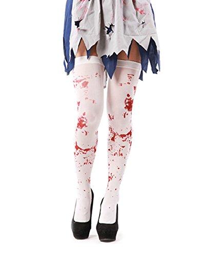 SAMGOO Kniestrümpfe Halloween Damen Knielanger Overknee Strümpfe Kostüme Blutspritzern blutig Party Zombie Cosplay (Halloween Party College Kostüme)