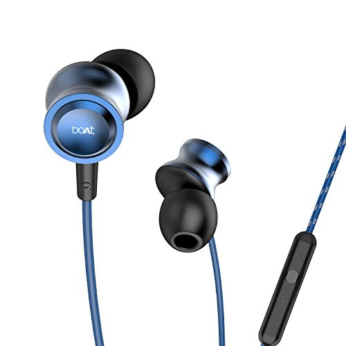 boAt BassHeads 152 with HD Sound, in-line mic, Dual Tone Secure Braided Cable & 3.5mm Angled Jack Wired Earphones (Blue)