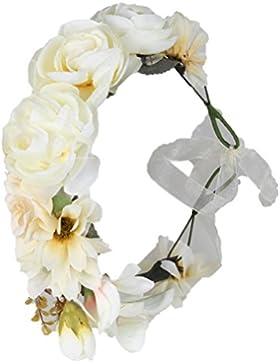 Cereoth Flor pelo Guirnalda de flores Diadema de guirnalda de corona floral rosa para boda