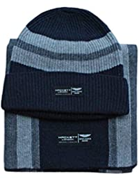 de2e2d9179a Hackett Men s Aston Martin Racing Cable Knitted Stripe Scarf Beanie Gift Set