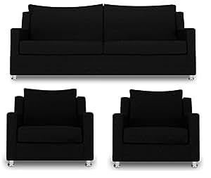 adorn india modern straight line 3+1+1 sofa set(black)