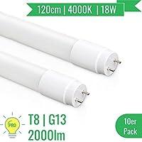 [PRO] 10x OUBO LED Leuchtstoffröhre | T8 Tube | 120CM | G13 Sockel | 18 Watt | Naturweiß 4000K | 2000LM | Abstrahlwinkel 270° | Nanoröhren | inkl. LED Starter | für Deckenleuchte Rasterleuchte