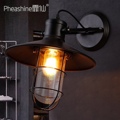 BESPD Retro Restaurant Schlafzimmer im Loft Nachttischlampe Leuchten, B001 Außenwände ohne Lampe (Schwarz) -