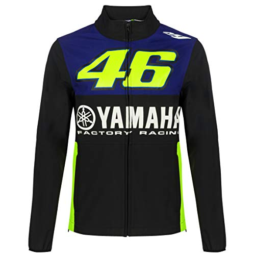 2019 Valentino Rossi VR46 Veste Softshell pour Homme Yamaha Factory Racing, Bleu, Mens (L) 110cm/43 inch Chest