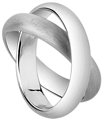 Nenalina Damen Ring Silberring Zweierring mit gebürsteter Oberfläche, handgearbeitet aus 925 Sterling Silber, 312088-700 Gr. 58