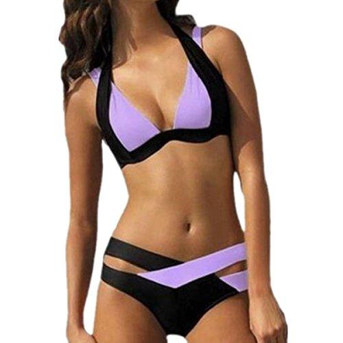 SHUNLIU Damen Elegant Bikini-Sets Bandeau Bannfarben Bademode Badeanzug Große Größe Lila