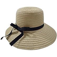 Leisial Ocio Gorra de Playa Sombrero para el Sol Paja de Protector Solar Sombrero Gancho de Mano Color Sólido Verano para Mujer
