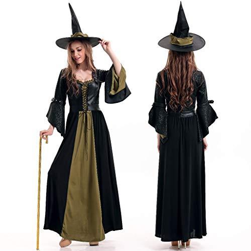 Viahwyt Halloween Frauen Cosplay Hexe Tanz Party Langarm Kleid + Hut Kleidung Set Anzug Halloween Fun Rollenspiel Verkleiden Kostüm (Grün, Freie Größe)