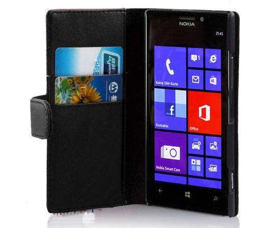 Preisvergleich Produktbild Cadorabo Hülle für Nokia Lumia 925 - Hülle in KAVIAR SCHWARZ – Handyhülle mit Kartenfach aus glattem Kunstleder - Case Cover Schutzhülle Etui Tasche Book Klapp Style