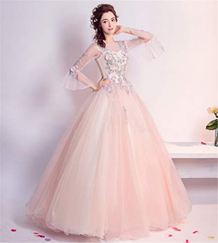 UNIQUE-F Frauen Vintage Prinzessin Elegantes Kleid Mode Spitze Langarm Party Lange Cocktailparty...