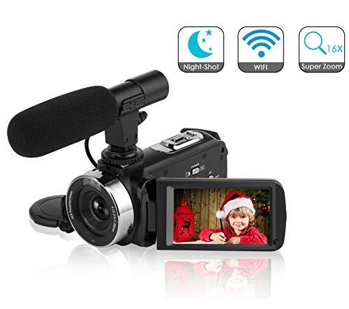 Camcorder Videokamera Full HD 1080P 30fps 24.0MP Digitalkamera WiFi IR Nachtsicht Vlogging Kamera mit Mikrofon Fernbedienung