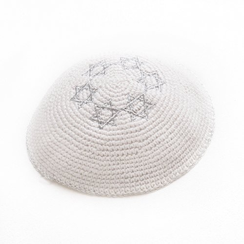 Intessuta 16,5 cm Silver Star Of David Kippah a forma di stella ebraica Yarmulke Judaica sinagoga, nuovo