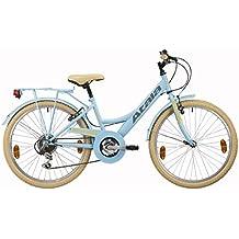 Bicicleta de niña Atala Toscana, 6 velocidades, color azul claro crema, tamaño 24