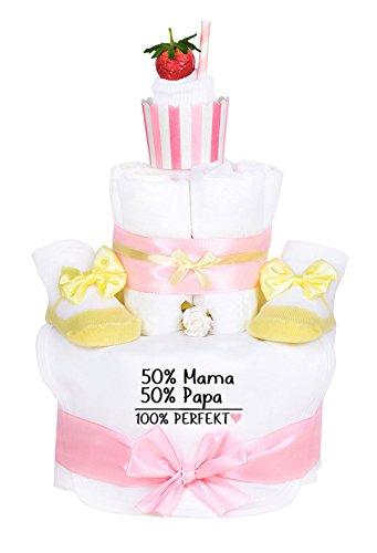 Windeltorte Cupcake Mädchen gelb/rosa