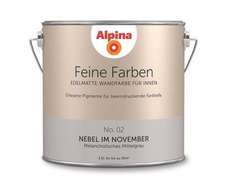 Preisvergleich Produktbild Alpina 2,5 L. Feine Farben, Farbwahl, Edelmatte Wandfarbe für Innen (No.2 Nebel im November - Melancholisches Mittelgrau )