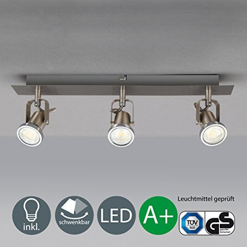 B.K.Licht LED Deckenleuchte I schwenkbare Decken-Lampe I 3 flammig I inkl. 3 x 5 W Leuchtmittel I mit beweglichen Decken-Spots I Wohnzimmerlampe I 3 Spotlights I moderner Deckenstrahler I Metall I I Farbe: matt nickel I 230V I GU10 I IP20[Energieklasse A+] (Moderne 3-lampe)