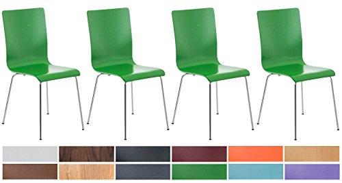 CLP 4er-Set Wartezimmerstuhl Pepe mit ergonomisch geformten Holzsitz und Metallgestell I 4X Konferenzstuhl erhältlich Grün