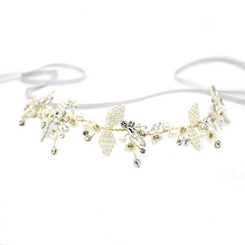 Elegante Silber Hochzeit Deco Stirnband oumoutm Braut Shell Blume Kopfbedeckung Krone mit Schleife