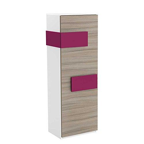 Pharao24 Schlafzimmer Kleiderschrank in Weiß Pink Schmal Türanschlag Links (Rechtsseitig zu öffnen)