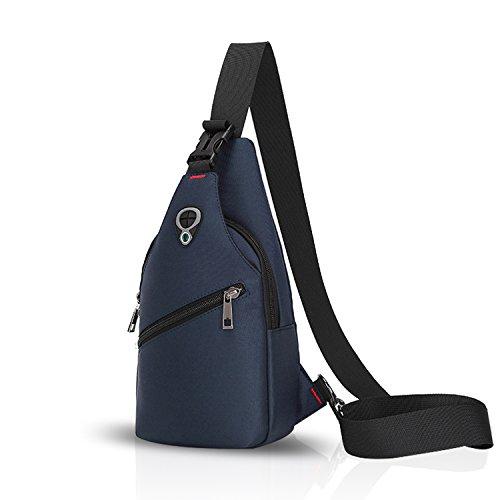 FANDARE Sling Bag Rucksack Umhängetasche Brusttasche Messenger Bag Schultertasche Hiking Bag Daypack Crossbody Bag Chest Pack Sports Reisetasche Polyester Blau