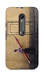 Amez designer printed 3d premium high quality back case cover for Moto G Turbo Edition (Creative man drawing a door with big pencil)