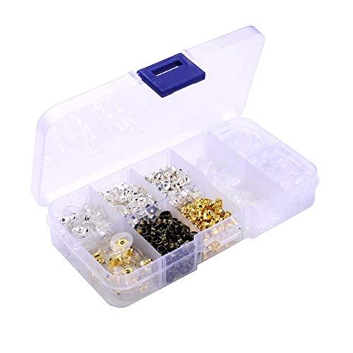Supvox Box-verpackte Ohrring-Rückseite, die DIY Silikon-Schmucksache-Zusätze 10 Art 1200pcs stoppt