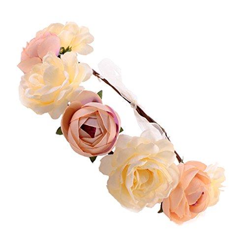 MagiDeal Frauen Braut Blume Stirnband böhmischen Pflaume Blume Crown Hairband - gelb rosa